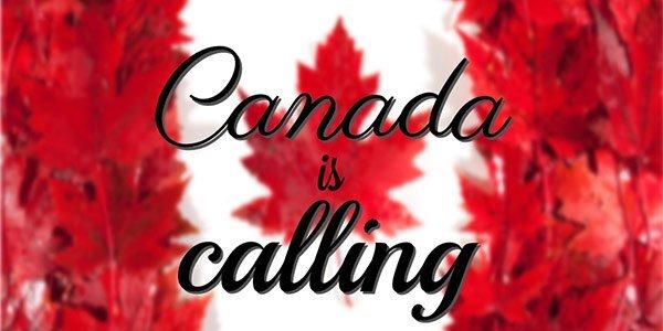 """Kanadische Flagge mit dem Schriftzug """"Canada is calling"""""""
