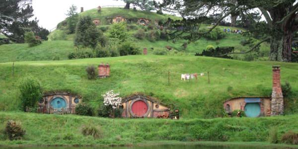 Hobbithäuser in der Herr der Ringe Filmkulisse