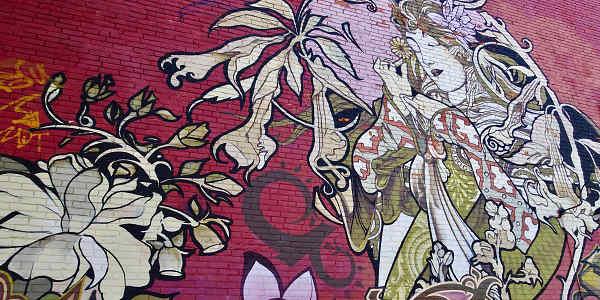 Ein buntes Wandbild im Kensington Market, einem hippen Viertel in Toronto