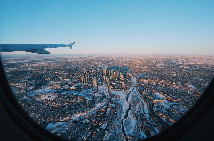 Blick auf Calgary im Winter in Kanada