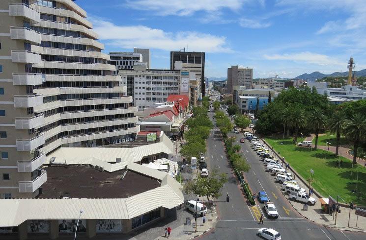 Straßenzeile in Windhoek, Namibia