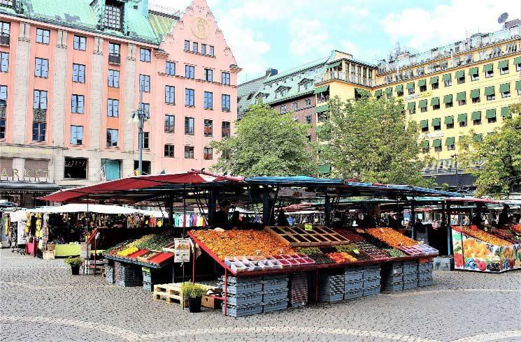 Markt in Stockholm, Schweden