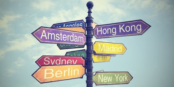 Wegweiser zu verschiedenen Städten.