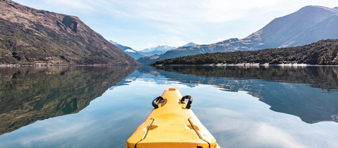 Kanu fahren auf dem Lake Wanaka in Neuseeland
