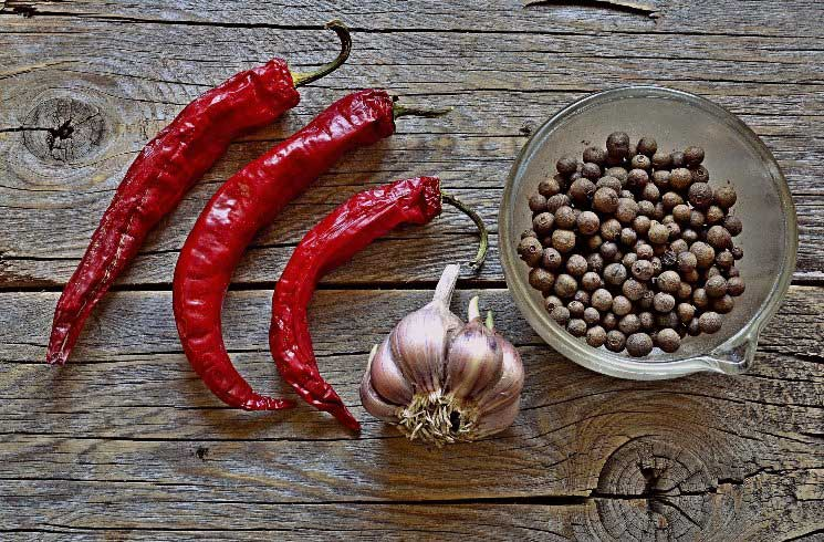 Pfeffer, Pepperoni, Knoblau in Chile