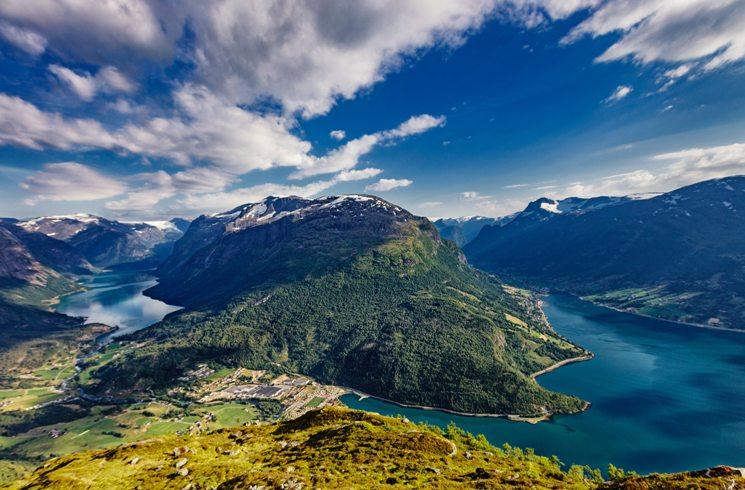 Blick auf Fjorde in Norwegen
