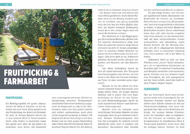 "Work & Travel Guide: Kapitel ""Fruitpickung und Farmarbeit"""