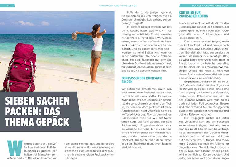 "Work & Travel Guide: Kapitel ""Gepäck"""