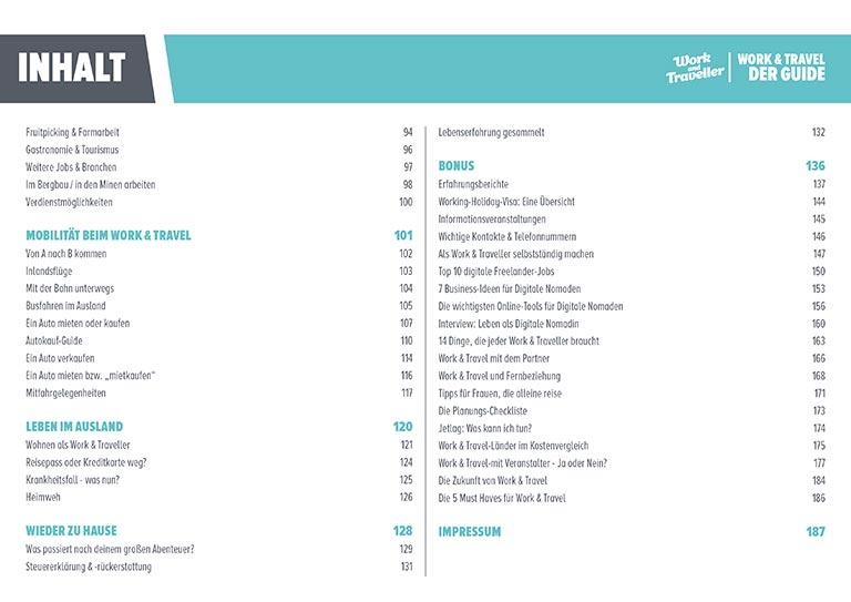 Work & Travel Guide: Inhaltsverzeichnis