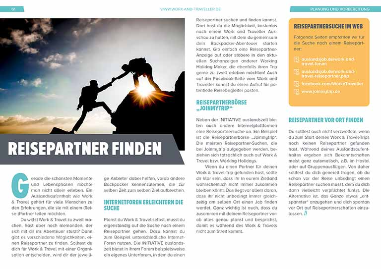 "Work & Travel Guide: Kapitel ""Reisepartner finden"""